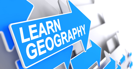 Learn Geography - Text on the Blue Pointer. 3D.
