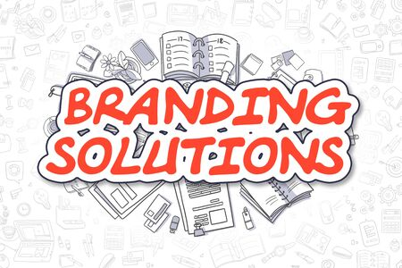 Branding Solutions - Doodle Red Text. Business Concept. Stock Photo