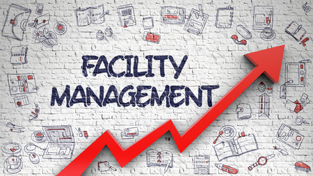 Facility Management - Modern Style Illustration with Doodle Design Elements. White Brick Wall with Facility Management Inscription and Red Arrow. Success Concept.