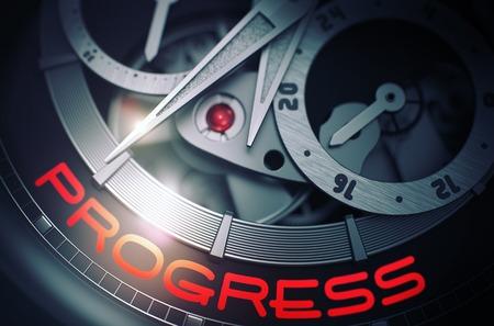cronógrafo: Progreso en el mecanismo de reloj de pulsera vintage. 3D.