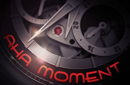 Aha Moment on the Fashion Watch Mechanism. 3D. Stock Photo