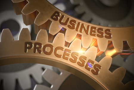 Business Processeson Golden Gears. Business Processes - Illustration with Glowing Light Effect. 3D Rendering.