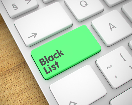 Black List - Text on the Green Keyboard Key. 3D. Stock Photo