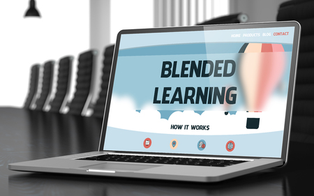 Landing Page of Laptop with Blended Learning Concept. 3d. Stock Photo