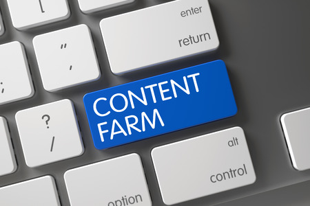 Content Farm Button. 3d.