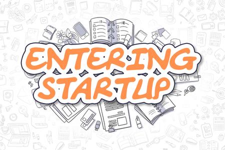 Entering Startup - Cartoon Orange Text. Business Concept. Stock Photo
