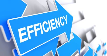Efficiency - Message on the Blue Pointer. 3D.