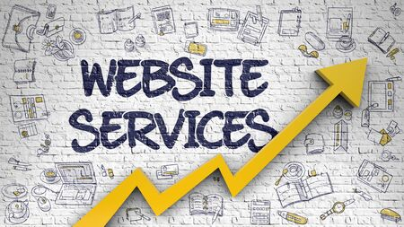 metasearch: Website Services Drawn on Brick Wall. Stock Photo