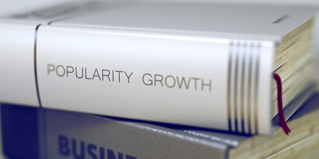popularity: Popularity Growth Concept on Book Title. 3d. Stock Photo