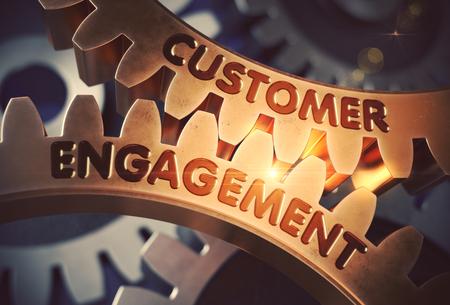 Customer Engagement on Golden Cog Gears. 3D Illustration.