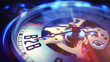 B2B - 時計上のテキスト。3 D のレンダリング。 写真素材