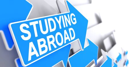 Studying Abroad - Message on the Blue Pointer. 3D. Stock Photo