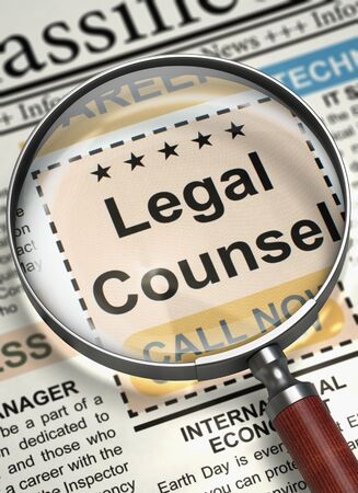 counsel: Legal Counsel Wanted. 3D. Stock Photo