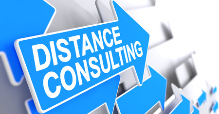 Distance Consulting - Blue Cursor with a Message Indicates the Direction of Movement. Distance Consulting, Label on Blue Cursor. 3D. Stock Photo