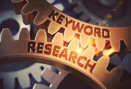 Keyword Research Golden Cogwheels. Keyword Research on the Mechanism of Golden Gears with Lens Flare. 3D Rendering. Stok Fotoğraf