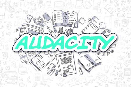 Audacity - Doodle Green Text. Business Concept.