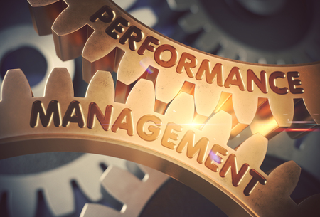 Performance Management on the Golden Gears. 3D Illustration. Stock Photo