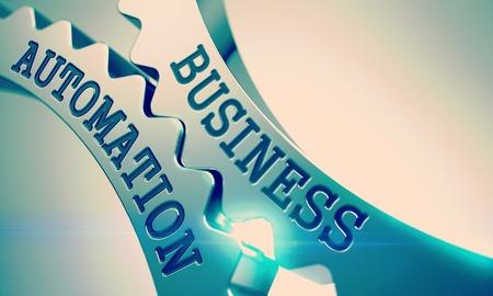 Business Automation - Message sur le mécanisme des engrenages en métal. 3D. Banque d'images