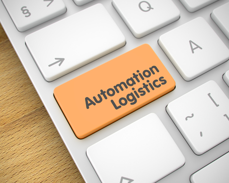 Automation Logistics - Text on the Orange Keyboard Keypad. 3D.