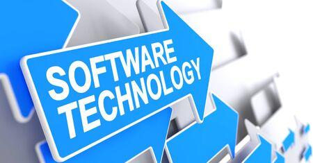 Software Technology - Inscription on Blue Pointer. 3D.