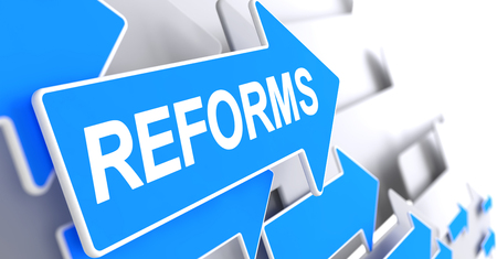 Reforms - Message on Blue Pointer. 3D. Stock Photo