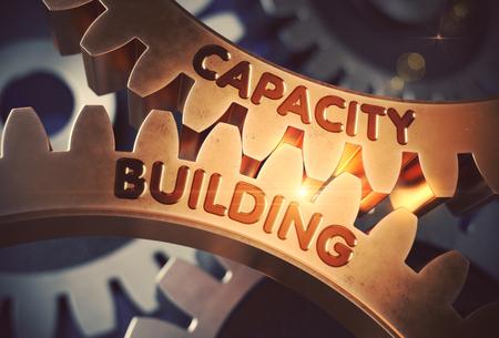 Concept de renforcement des capacités. Gears d'or. Illustration 3D Banque d'images