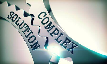 Complex Solution - Text on Mechanism of Metal Cogwheels. 3D. Stock Photo