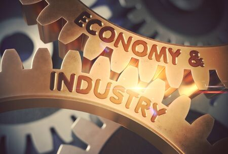 Economy And Industry on Golden Cog Gears. 3D Illustration.