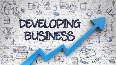Developing Business Drawn on White Wall. 3d. Stock Photo