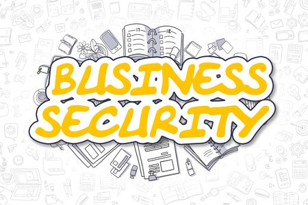 stocktaking: Business Security - Doodle Yellow Word. Business Concept. Stock Photo