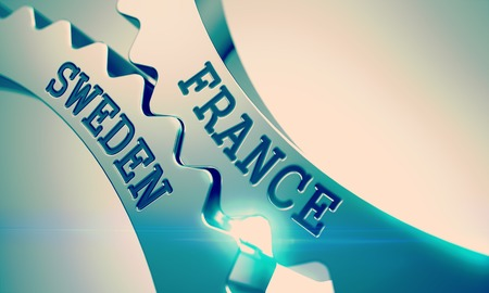 France Sweden on the Mechanism of Shiny Metal Cog Gears. 3d.