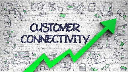 connectivity: Customer Connectivity Drawn on Brick Wall. 3d. Stock Photo