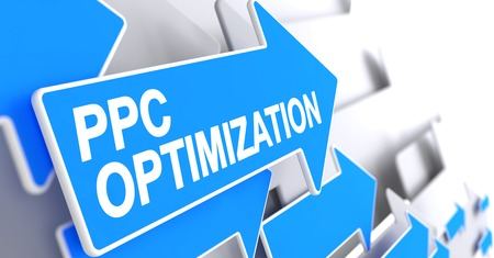 PPC Optimization - Text on the Blue Pointer. 3D.