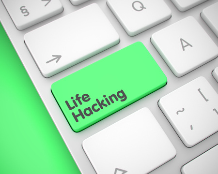 Life Hacking - Message on Green Keyboard Keypad. 3D.