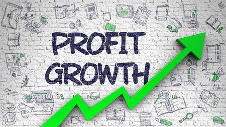 Profit Growth Drawn on Brick Wall. 3d.