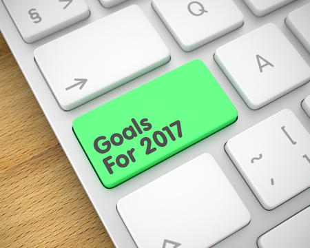 next year: Goals For 2017 - Text on the Green Keyboard Button. 3D.