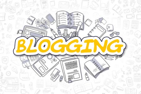 article writing: Blogging - Doodle Yellow Text. Business Concept.