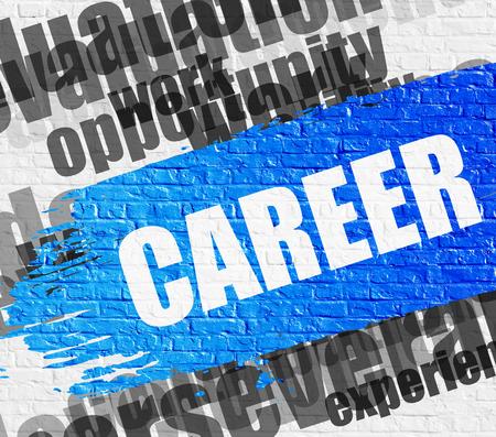Career on White Brickwall. Stock Photo