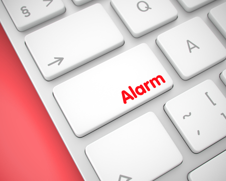 Alarm - Inscription on White Keyboard Button. 3D.