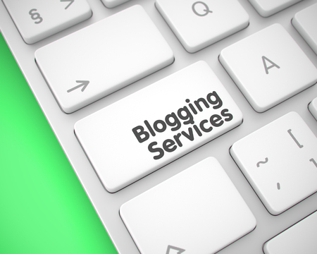 Blogging Services - Inscription on the White Keyboard Key. 3D.
