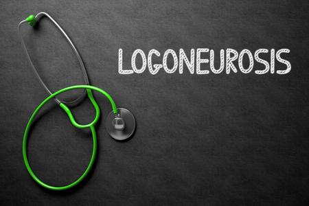 convulsions: Logoneurosis - Text on Chalkboard. 3D Illustration.