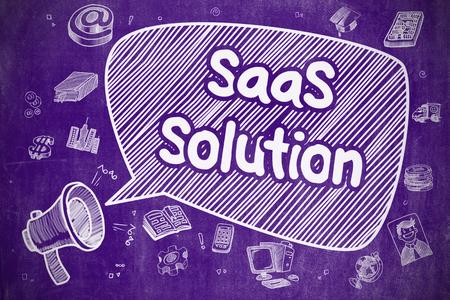 saas: SaaS Solution - Cartoon Illustration on Purple Chalkboard.
