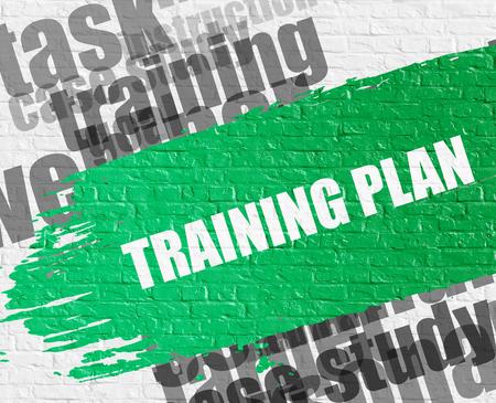 Training Plan on White Brick Wall. Stock Photo