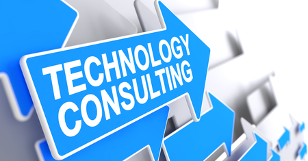 Technology Consulting - Message on the Blue Arrow. 3D. Stock Photo