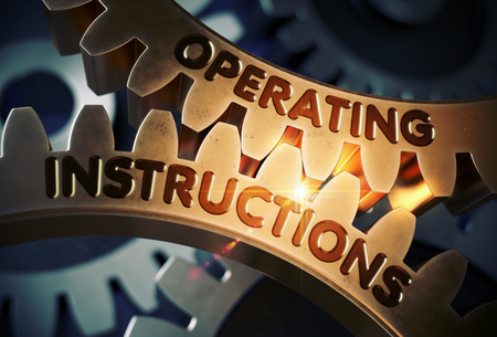 specification: Operating Instructions on Golden Cog Gears. 3D Illustration.