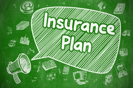 Insurance Plan - Cartoon Illustration on Green Chalkboard. Stock Photo