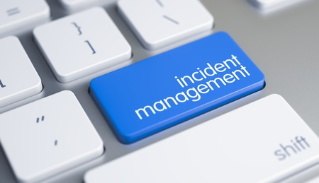 Incident Management Written on the Blue Button of Computer Keyboard. Aluminum Keyboard Keypad Showing the Inscription Incident Management. Message on Blue Keyboard Key. 3D Illustration.
