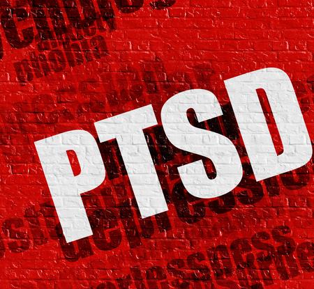 Modern healthcare concept: PTSD - Posttraumatic Stress Disorder on the Red Brickwall . Red Brickwall with PTSD - Posttraumatic Stress Disorder on it . Stock Photo