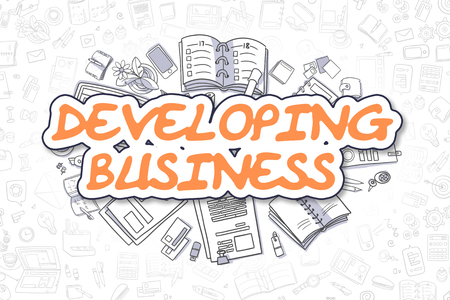 Business Illustration of Developing Business. Doodle Orange Word Hand Drawn Cartoon Design Elements. Developing Business Concept. Stock Photo