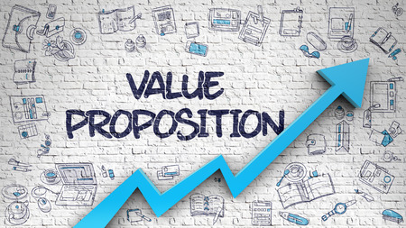 Value Proposition Inscription on the Modern Illustation with Blue 3d Arrow and Doodle Icons Around. Value Proposition Drawn on White Brick Wall. Illustration with Hand Drawn Icons. 3d. Stock Photo